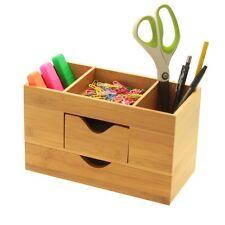 Bambú Escritorio Organizador ordenado, Papelería Caja de almacenamiento