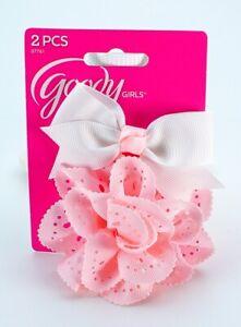 Goody Girls Ribbon Bow & Flower Hair Pin Hair Clip 2 Pc 3D Flower Pink White New