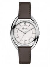 s.Oliver Damenuhr Uhr Edelstahl Leder Braun Armbanduhr SO-3161-LQ
