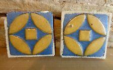 (2) Very Rare * Grueby Pottery Tile * (2 Colors) * Geometrics * (Save U Frame)