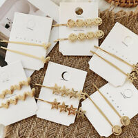 New Fashion Women Gold Bobby Barrettes Alloy Hair Clip Stick Hairpin Accessories