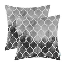 2Pcs Gray Grey Cushion Cover Pillow Case Watercolor Geometric Trellis Chain 50cm