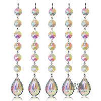 H&D 5X Hanging Chandelier Crystal Suncatcher Prisms Rainbow Drops Pendants 38mm