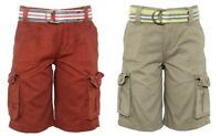 Boys Attire Cotton Multi-Pocket Belted Combat Cargo Summer Holiday Shorts.