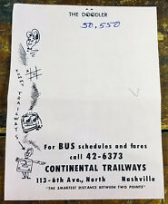 1950s The Doodler Note Pad Paper Continental Trailways Nashville TN Tennessee