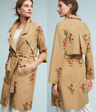 ANTHROPOLOGIE NWT Embroidered Floral Trench Coat Khaki Summer Jacket Sz XS $178