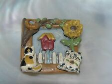 Estate Small Resin or Plastic Calico Kitty Cat Peering Through Farm Window