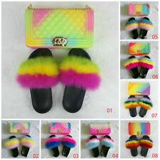 1 set Multi-color Real Fox Fur Slides Fur Slippers Sandals w Crossbody Purse bag