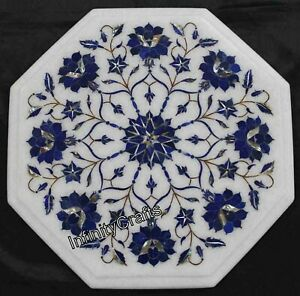 14 Inch Marble Coffee Table Top Marquetry Art End Table for Home Decor Furniture