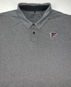 Nike Golf Atlanta Falcons Shirt XXL Grey Stripe Short Sleeve Button Up