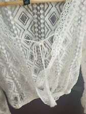 Newlook White Crochet Croped Lace Long Sleeve Top UK12