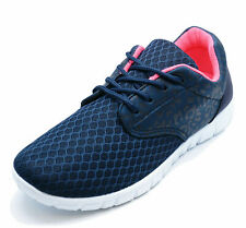 LADIES NAVY PINK TRAINERS SPORTS LACE JOGGING RUNNING GYM CASUAL SHOES SIZES 3-9