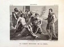 CRISTO SCESO DALLA CROCE Incisione origin.  XIX sec. RELIGIOSE  SANTI TINTORETTO