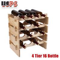 4 Tier 16 Bottle Wood Wine Rack Holder Stackable Organizer Home Display Storage
