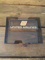 Vintage Acrylic Desktop Memo Pad Holder United Airlines/ Mr.Foster 4 x6  RARE