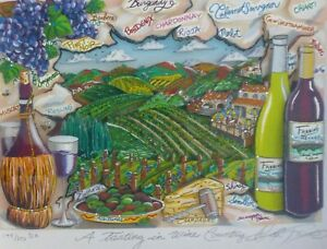 """CHARLES FAZZINO """"A TASTING IN WINE COUNTRY"""" 3D DX DELUXE SERIGRAPH SIGNED FRAMED"""