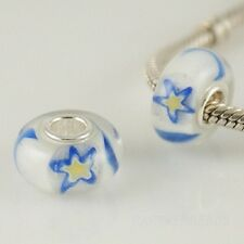 925 Sterling Silver Core, Murano Lampwork Glass, Star Patterned Charm Bead