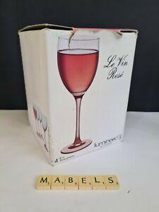 LUMINARC ~ROSE PINK STEMS~  8floz wine glasses x 4