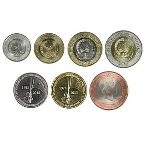 7 x Münzen Kwanzas aus Angola Unzirkuliert