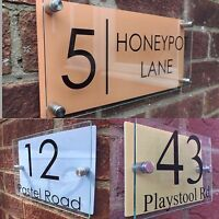 Glass Acrylic House Sign Modern Aluminium/Pastel Door Number Name Road Plaque