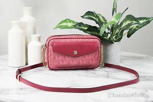 Michael Kors Jet Set Medium Berry Multi PVC Pocket Camera Crossbody Bag Handbag