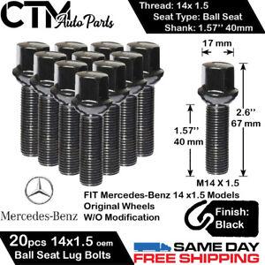 20PC MERCEDES BLACK 14X1.5 BALL SEAT LUG BOLT 40MM SHANK SHAFT FIT ORIGINAL RIM
