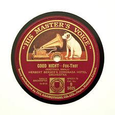"Herbert de berger Coronada Hotel Orchestra ""bonne nuit"" HMV B-5025 [78 tours]"