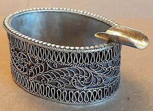 Vintage 925 Silver Filigree Ashtray 36gm