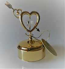 Music Box Love Story Heart Arrow with Swarovski Crystals Fitted Gold Plated