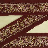 Vintage saree Border Indian Brown Hand Beaded Used Sari Ribbon Sewing 1YD Trim