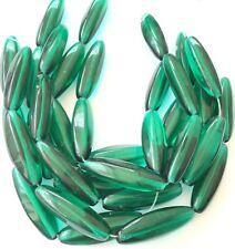 12 Fine Vintage Trade Transparent Elongated Green Czech Bohemian Glass beads-