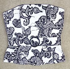 New White House Black Market Sz 2 Corset Top Strapless Belt Boned Cotton Bustier
