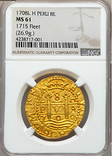 PERU 1708 8 ESCUDOS NGC 61 1715 FLEET GOLD SHIPWRECK COB DOUBLOON TREASURE COIN