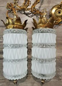 Vintage MCM Hanging Lamp Light Pair Clear Frosted Glass Cylinder Metal Crown