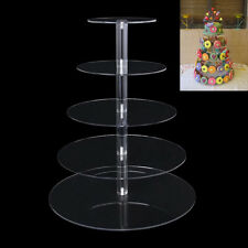 5 Tiers Crystal Clear Acrylic Round Birthday Cupcake Stand Display Cake Tower
