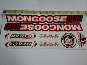 Mongoose PRO RX 10.9 Titanium Stickers White, Red & Black.