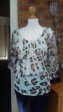 Jane Norman Top/blouse  Bnwt.size 12 animal print.blue/brown