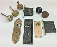 Antique Door Hardware Lot Corbin Mortise Knobs Cover Decorative Plates