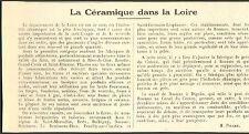 42 LA CERAMIQUE DANS LA LOIRE ARTICLE DE PRESSE PAR H. PICARD 1927