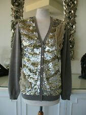 BLUEMARINE Light Brown Taupe Wool Cardigan with Sequin & Distressed Lace  I46 14