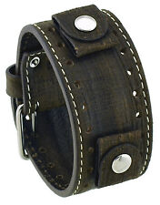 REV GS-TM Golden Sahara Groot Pattern Moro Brown Wide Leather Cuff Watch Band