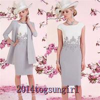 PlusSize Lace Satin Knee Length Mother of Bride Suit Jacket Wedding Outfit Dress