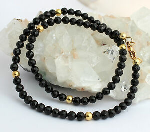 Spinel Necklace Gemstone Necklace Faceted Black Ball Women's Necklace Spinels