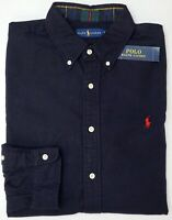 NWT $98 Polo Ralph Lauren Navy Blue Long Sleeve Flannel Cotton Shirt Mens NEW