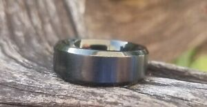 Black Stainless Steel Wedding Ring/Band (Brushed) Size 7 - Preowned