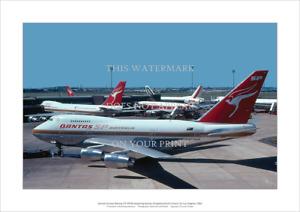 "Qantas Boeing 747SP-38 Art Print - Sydney - Poster - A3 42 x 29 cm 16"" x 12"""