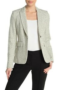Veronica Beard Women's Cutaway Tweed Dickey Jacket Blazer Black White Size 4