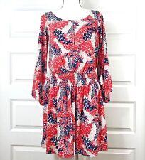 Jessica Simpson size 8 keyhole leaf dress wide bell sleeve boho red white blue