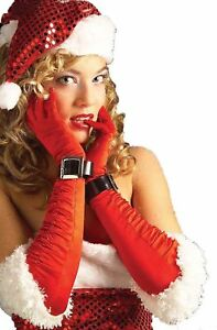 Ladies Miss Santa Elbow Length Red Ruched Gloves With White Fur And Buckle