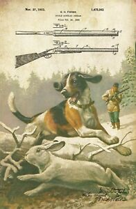 Vintage Shotgun Patent Art Print 11x17 Beagle Dog Rabbit Hunting Wall Decor